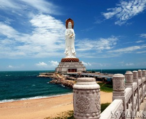 San Ya / Hainan, China:  Set on a small man-made island in the sea the 108 meters high Bodhisattva Guan Yin Chinese Buddhist Goddess of Mercy is the 4th largest statue in the world - Xu Lei Photo